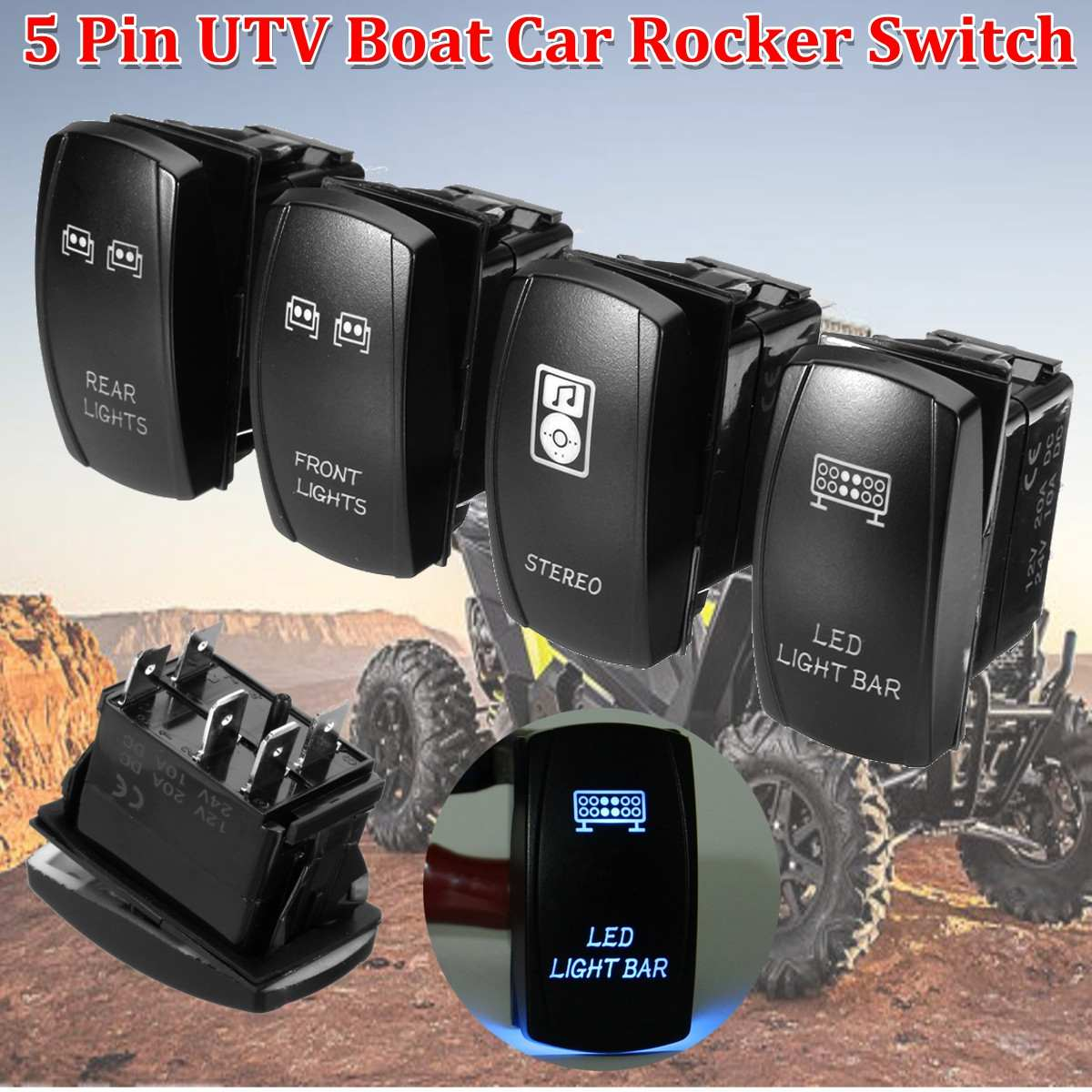 Red AWNING LIGHTS Rocker 12V Toggle Switch For UTV POLARIS RZR 4 XP 900 1000