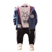 Moda çocuk pamuk giyim takım elbise bebek erkek kız Hoodies T shirt pantolon 3 adet/takım İlkbahar sonbahar çocuk spor giyim eşofman