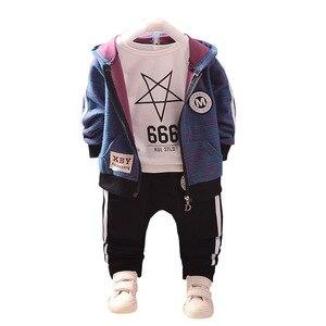 Image 1 - Mode enfants coton vêtements costumes bébé garçons sweats à capuche pour filles T shirt pantalon 3 pièces/ensemble printemps automne enfants Sport vêtements survêtement