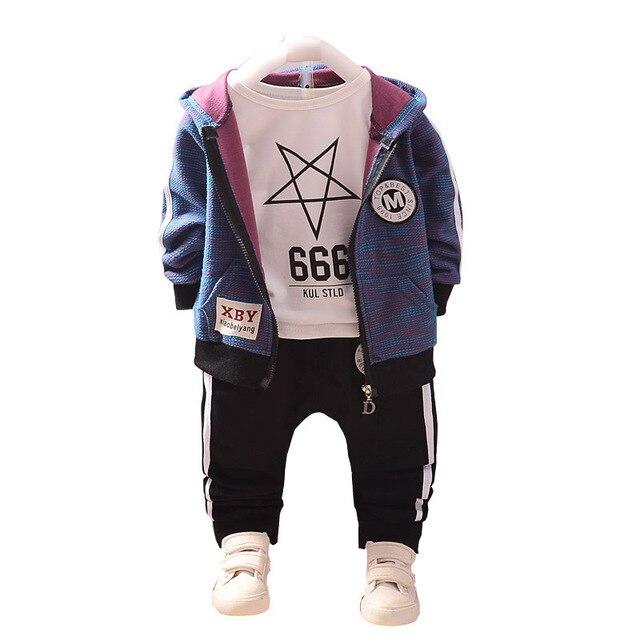 Mode enfants coton vêtements costumes bébé garçons sweats à capuche pour filles T shirt pantalon 3 pièces/ensemble printemps automne enfants Sport vêtements survêtement