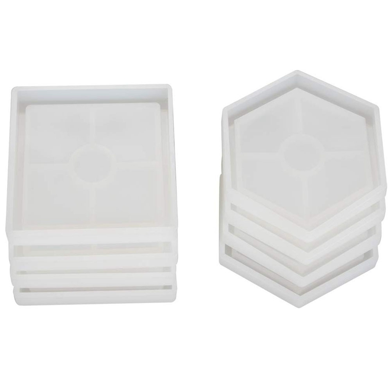 8 Pcs Diy Coaster Silicone Mold, Include 4 Pcs Square, 4 Pcs Hexagon,Bottom Bracket Prevents Deformation, Molds For Casting Wi