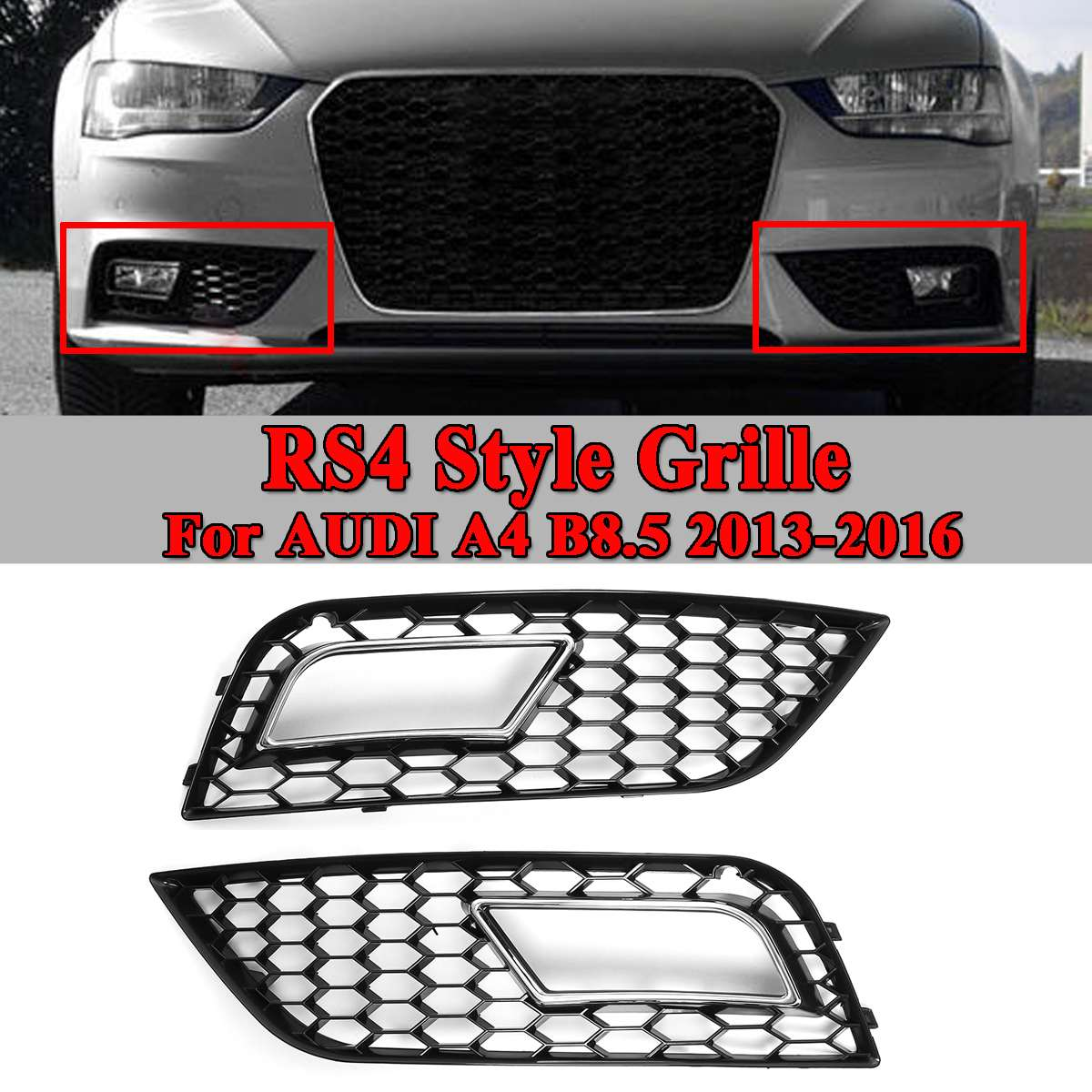 2x Car Bumper Fog Light Lamp Cover Honeycomb Hex Front Racing Grille Grill For Audi A4 B8.5 2013-2016 RS4 Style Chrome/Black grille