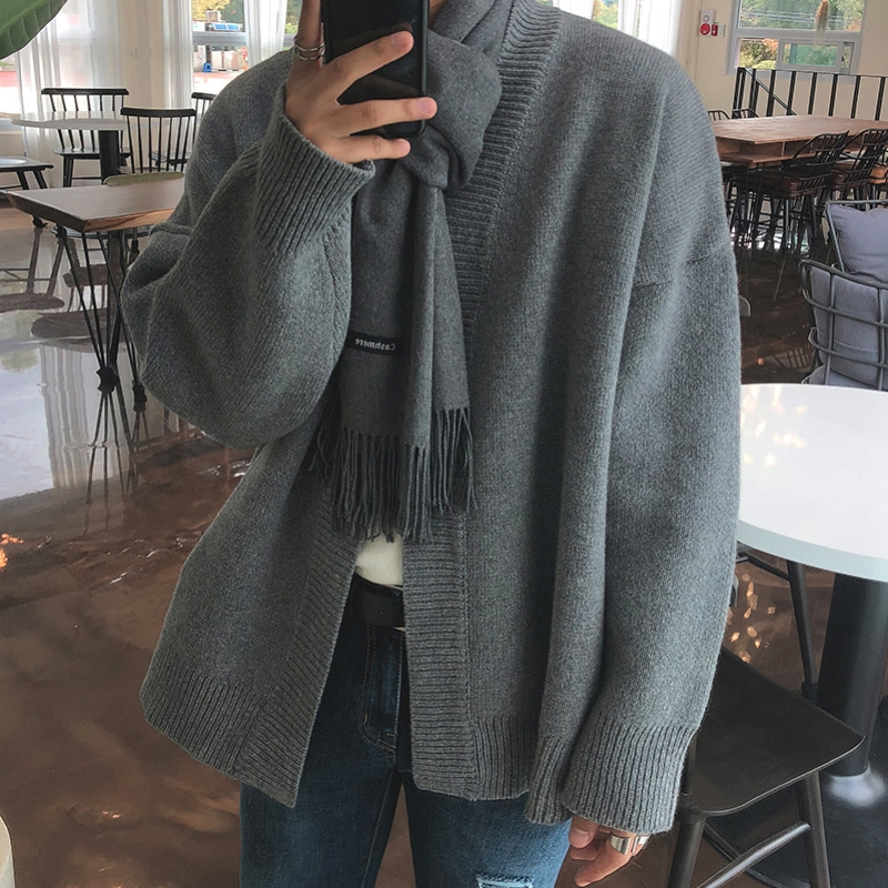 2019 Spring And Autumn Solid Color Loose Couple Chic Sweater Cardigan Korean Men's Sweater Wild Jacket Gray / Brown M-XL