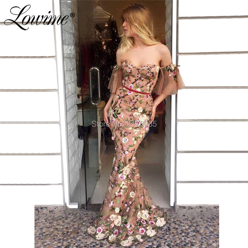 Amazing Floral Print Evening Dresses 2019 Newest Vestidos Mermaid Arabic Party Gowns Couture Off Shoulder Long Prom Dress Abiye