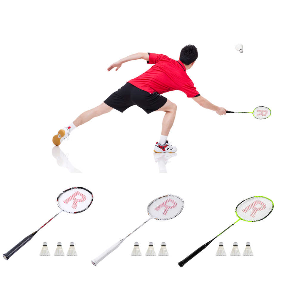 Badminton Racket Set Ultralight Carbon Fiber Baminton Racquet and Tube of 3 Shuttlecocks Ball Birdies with Cover Bag