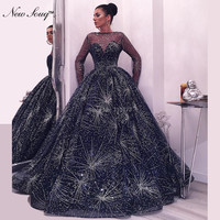 Navy Blue Long Sleeves Evening Dresses Illusion Abendkleider 2019 Arabic Formal Women Gown Shiny Fabric Prom Dress Party Gowns