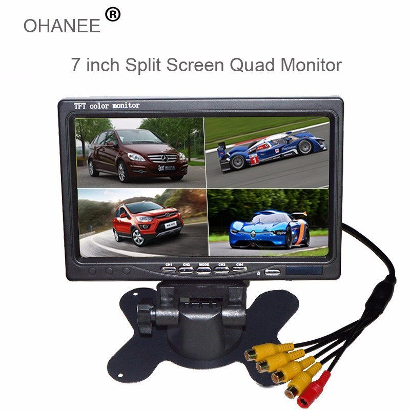 7 Inch Split Screen Quad Monitor 4 channel Video Input Windshield Style Parking Dashboard For Car