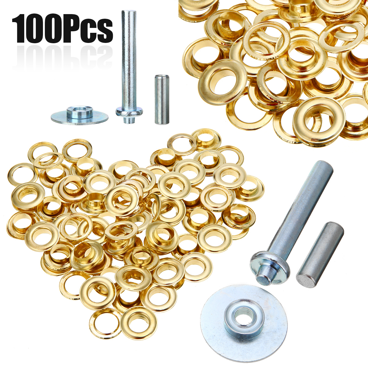 Mayitr 100Pcs Punch Grommets and Tarpaulin Awning Tent Tarp Repair Kit Hole Eyelet NewMayitr 100Pcs Punch Grommets and Tarpaulin Awning Tent Tarp Repair Kit Hole Eyelet New