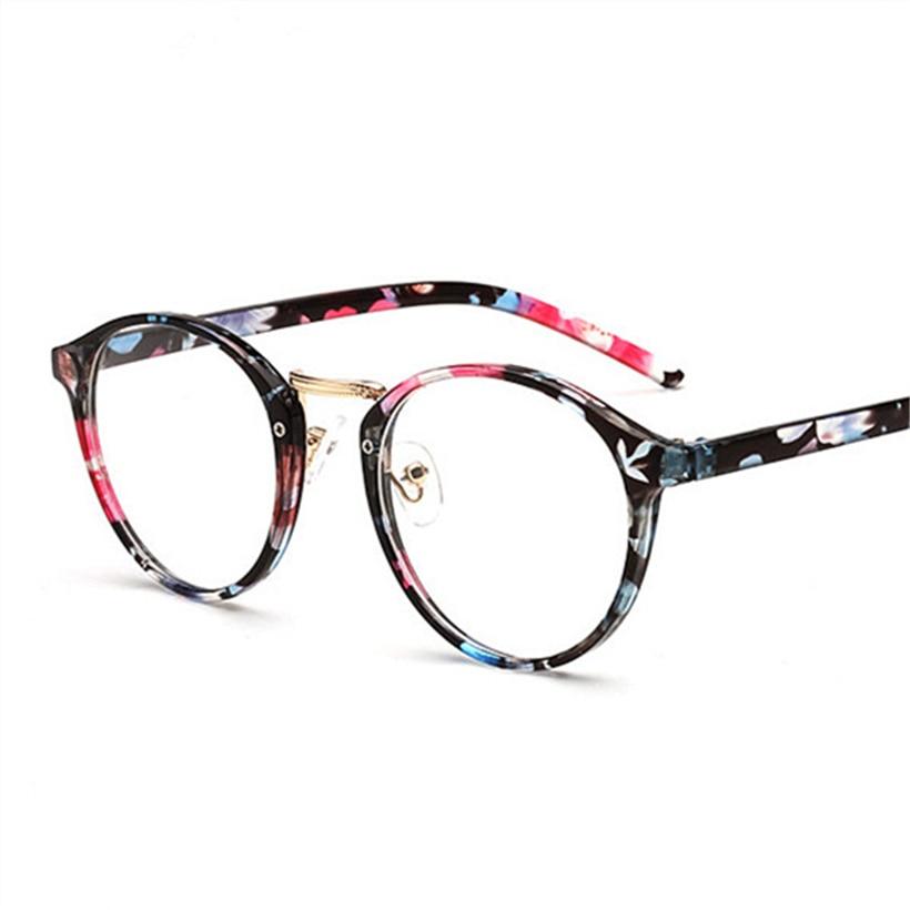 d5b7809f5e Las mujeres óptica gafas redondas marco Retro claro lente gafas miopía  gafas marcos hombres flor marcos