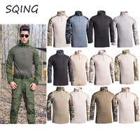 SQING Military Tactical Uniform Combat Camouflage Plus Size Army Clothes Men Training Militar US Army Airsoft Tactical Men Tops