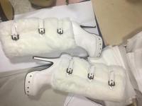 Настоящие белые сапоги на платформе; сапоги до колена на высоком каблуке; теплые зимние сапоги на меху с пряжкой