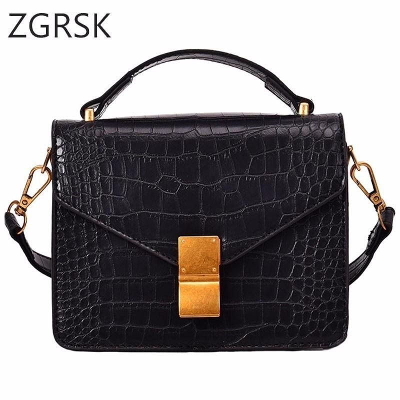 Women Flap Luxury Crossbody Bag Pu Leather Handbag Ladies Single Shoulder Bags Small Woman Crocodile Grain Tote Fashion Bags