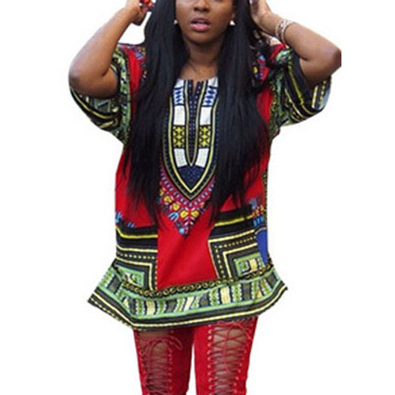 Unisex Tribal African Shirt Dress Men Women Dashiki Print Hippie Dress
