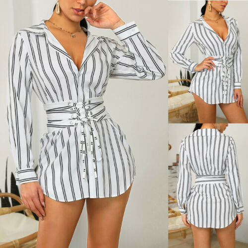 2019 New Women Stripe Mini Dress Long Sleeve Belted Casual T Shirt Blouse Dresses Top