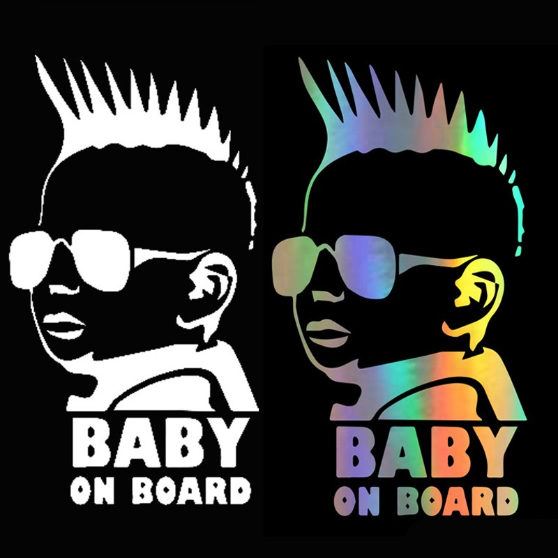 Car Accessories Cartoon Cool Boy Baby On Board 15x8.3cm Reflective Car Sticker Auto Products Baby In Car 3 Colors car