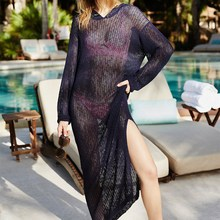2019 New Women V-Neck Hollow Knitted Beach Dress Sexy Hooded Swim Suit Cover Up Long Dress Long Sleeve Loose Dresses все цены