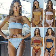 Hirigin Brand Sexy Swimwear Women Bikini 2019 2 Pieces Set Bandeau Bandage Swimsuit Bra Beachwear Bathing Suit