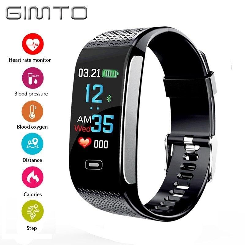 GIMTO Smart Électronique montre de sport Hommes led Coeur Taux de Tension Artérielle D'oxygène Podomètre Étanche montres homme Top Marque De Luxe
