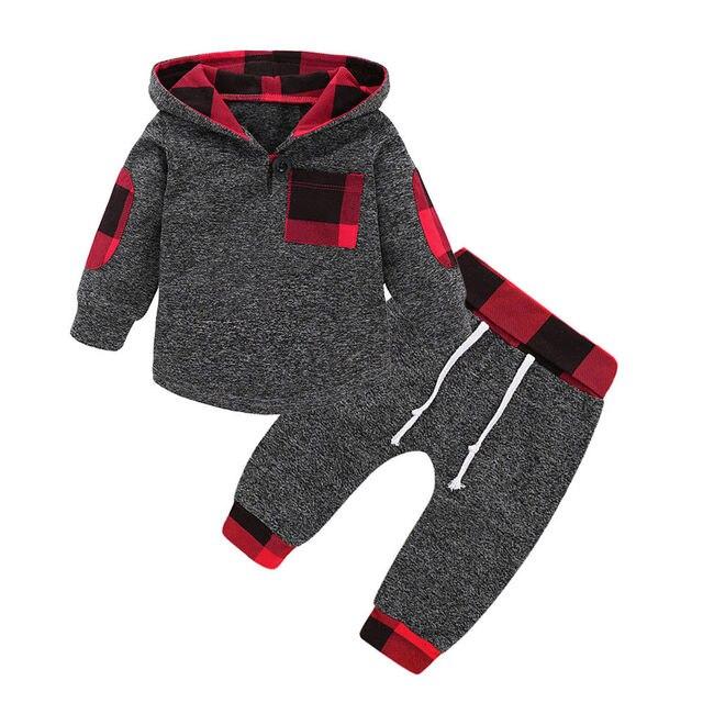 158ad28c616d Newborn Baby Autumn Winter Clothes Sets Infant Cute Plaid Girls Boys ...