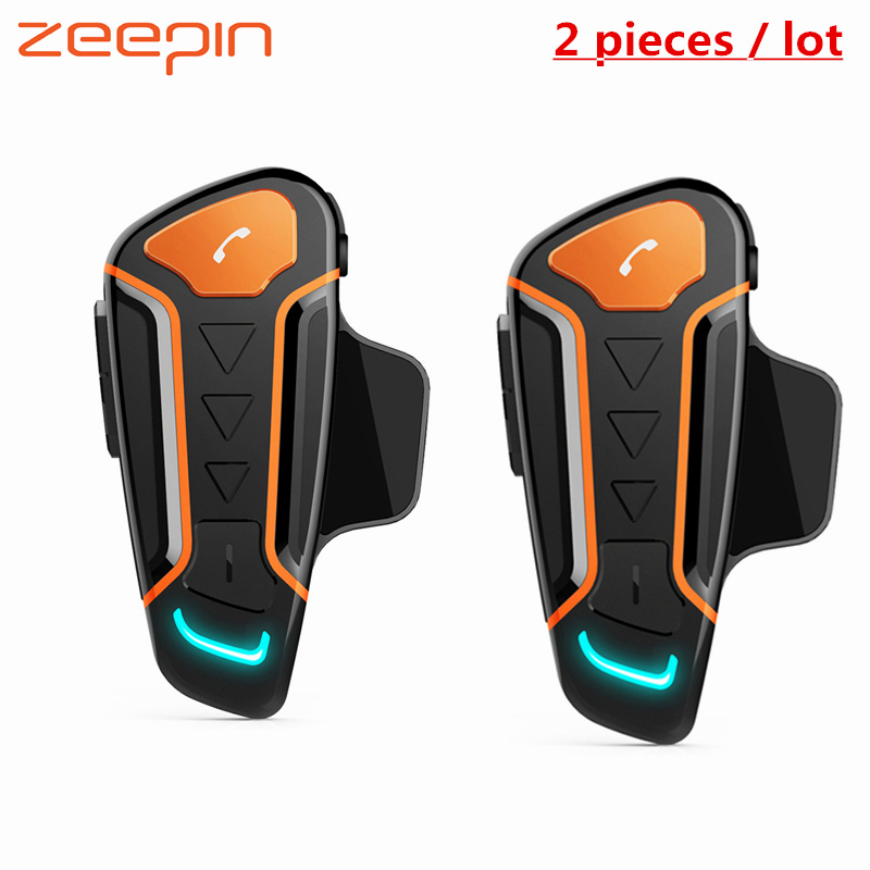 2PCS 1000m IPX5 Waterproof Motorcycle Intercom Helmet Headsets Wireless Bluetooth Interphone For Motorcycle FM Radio Handsfree