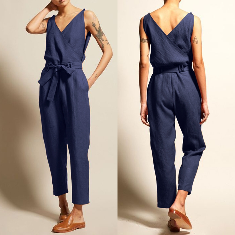 2019 ZANZEA Women's   Jumpsuits   Tank Overalls Pantalon V Neck Belt Playsuits Female Sleeveless Combinaison Femme Trouser Oversized