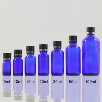 5ml glass blue eye serum bottle travel size packaging, essential oil dropper bottles 5ml for sample