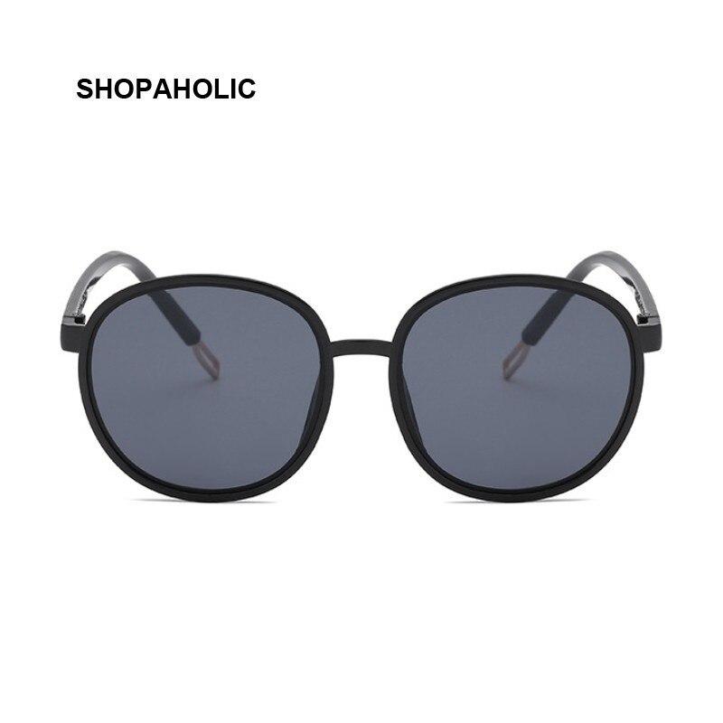 Round Sunglasses Women Brand Designer Oval Oversized Sun Glasses Female Retro Black Color Eyewear UV400