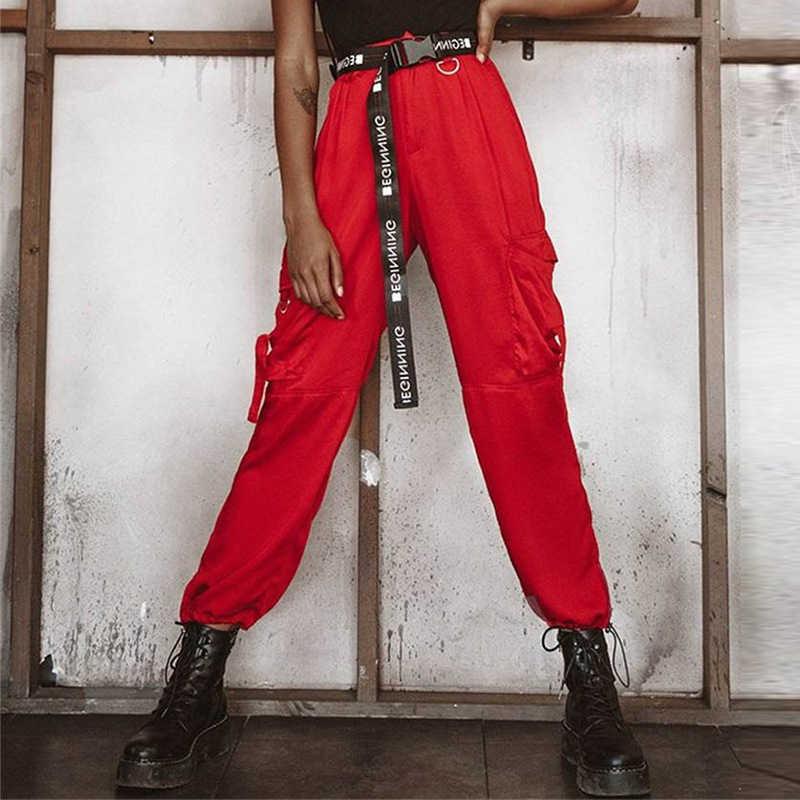 Militaire Cargo Broek Keten Vrouwen Broek Stijlvolle Joggers Broek Rood Winter Bodems Streetwear Hoge Taille Pantacourt Joggingbroek