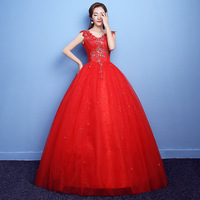 Red Quinceanera Dresses Ball Gown V Neck Sleeveless Lace Back Appliques Beaded Long Party Gowns Vestido 15 Anos Debutante Flores