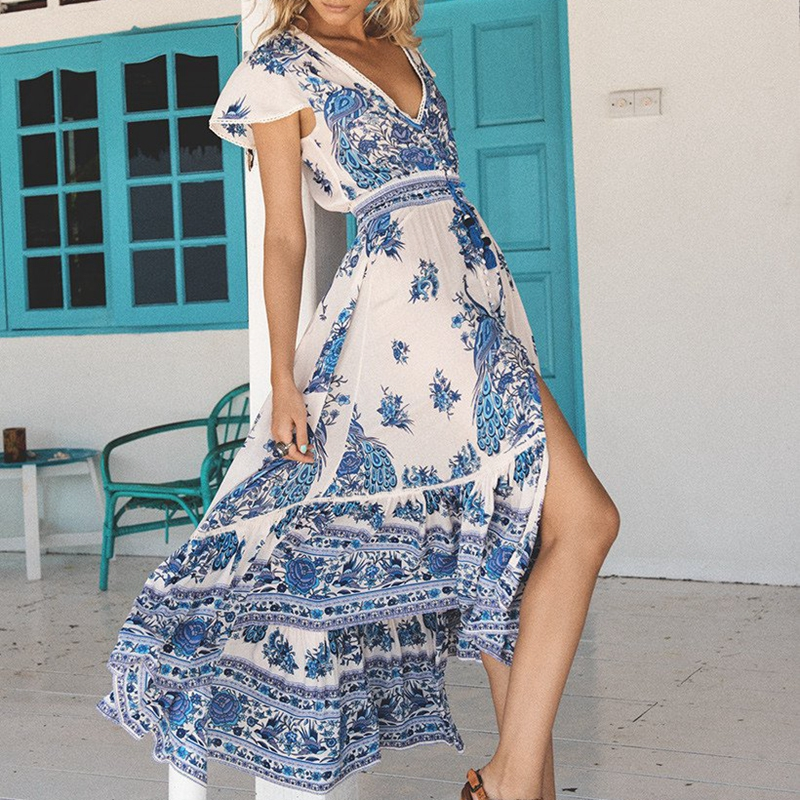 New Women <font><b>Sexy</b></font> <font><b>V</b></font> Neck Maxi <font><b>Boho</b></font> <font><b>Dress</b></font> <font><b>Floral</b></font> Summer <font><b>Beach</b></font> Cocktail Party Long Sundress image