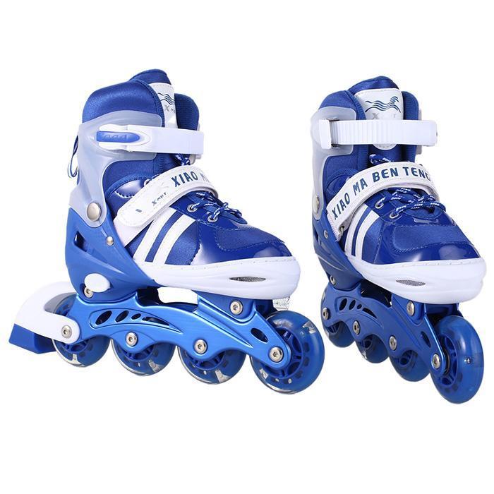 Elinefe 1 paire PU clignotant 4 roues patins à roues alignées enfants patins à roulettes extérieur traceur réglable enfants patins à roues alignées Patines