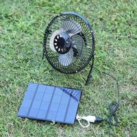 Alloet 6 Inch Mini Air Cooling Fan Solar Ventilator USB Mini Air Conditioner Fan Solar Panel Fan Cooling Micro Ventilator