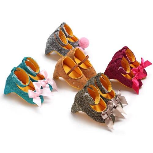 Mutter & Kinder Unparteiisch 2019 Neugeborenen Baby Mädchen High Heels Weiche Sohle Kleinkind Bogen Pompom Prinzessin Krippe Schuhe Modernes Design Babyschuhe