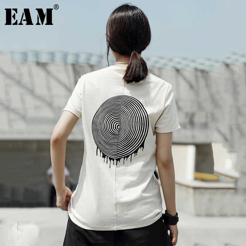 [EAM] 2020 New Spring Summer Round Neck Short Sleeve Back Pattern Printed Loose Personality T-shirt Women Fashion Tide JT546
