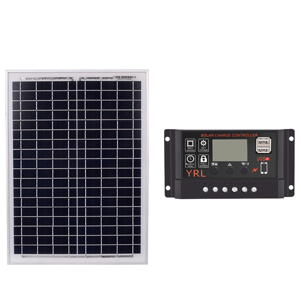 Black 18V20W Solar Panels + 40/50/60A 12V/24V Solar Controller With Usb Interface Battery Travel Power Supply 60ABlack 18V20W Solar Panels + 40/50/60A 12V/24V Solar Controller With Usb Interface Battery Travel Power Supply 60A