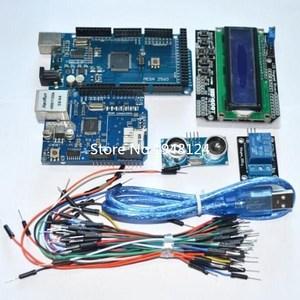 Image 1 - Suq Mega 2560 r3 für arduino kit + HC SR04 + breadboard kabel + relais modul + W5100 UNO schild + LCD 1602 Tastatur schild