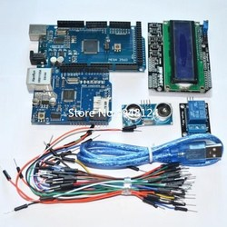 Suq Mega 2560 r3 for arduino kit + HC-SR04 +breadboard cable + relay module+ W5100 UNO shield + LCD 1602 Keypad shield