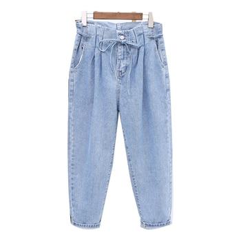 цена на Summer Autumn Boyfriend Jeans For Women Washed Denim Harem Pants Drawstring Waist Loose Jeans Woman Plus Size XL-5XL