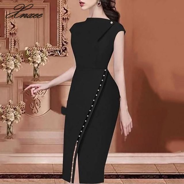2019 Women Elegant Casual Office Look Workwear Slit Party Dress Solid Button Beading Embellished Slit Irregular Midi Dress
