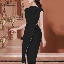 2020 frauen Elegante Casual Büro Aussehen Arbeitskleidung Schlitz Party Kleid Feste Taste Perlen Verschönert Slit Unregelmäßige Midi Kleid