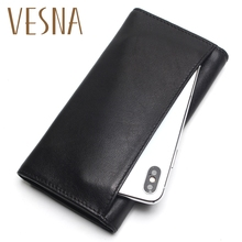 Vesna TAUREN New Fashion Men Wallet Genuine Leather Purse Men Long Wallet Purse Vintage  Money Clip High-Capacity Wallet цена в Москве и Питере