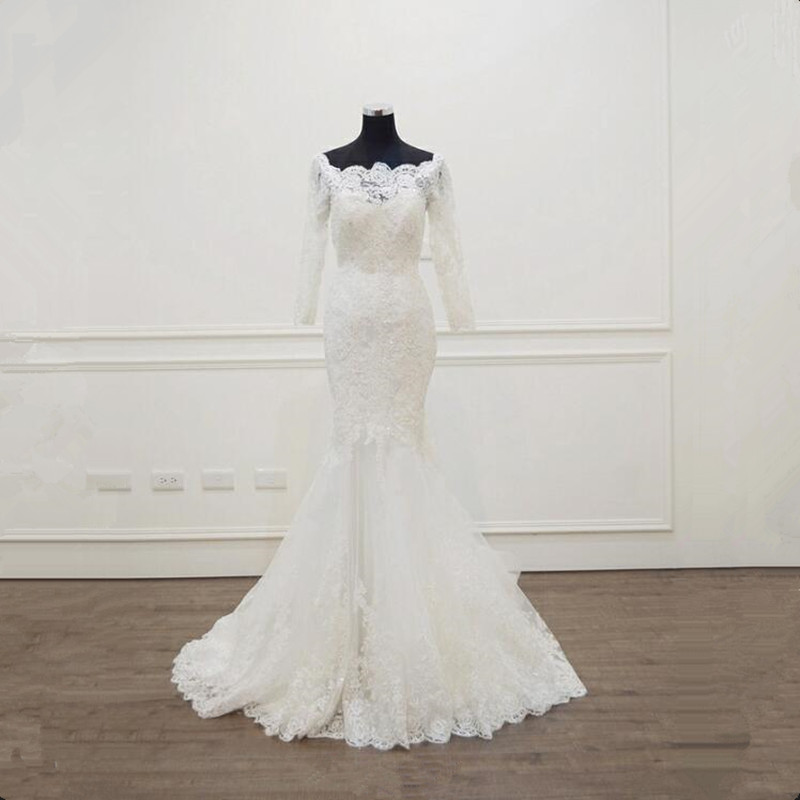 Long Sleeve Lace Wedding Dresses Mermaid Tulle Wedding Gowns Bridal Bride Dresses Weddingdress vestidos de noiva