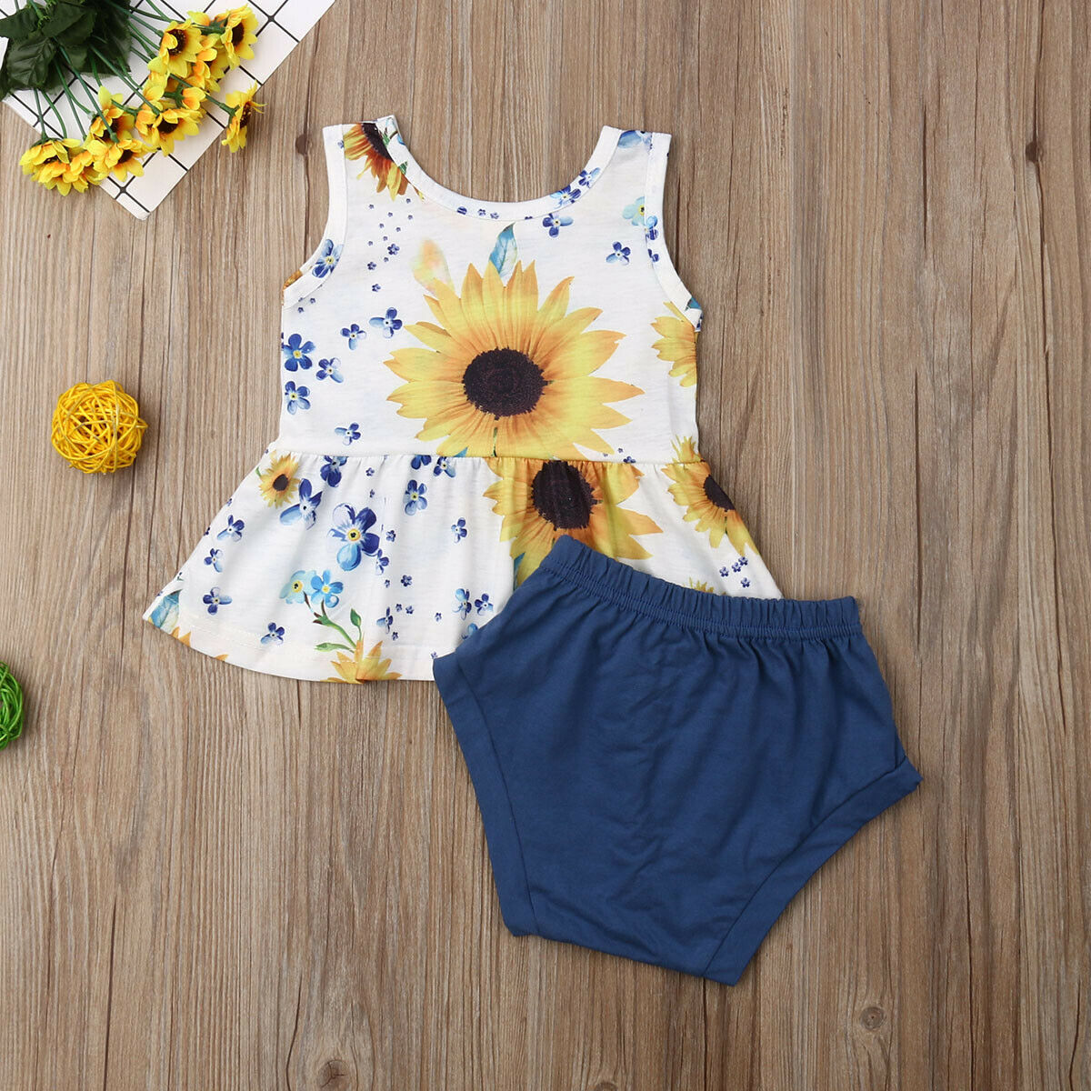 370ceca94 New Infant Kids Baby Girl Sunflower Tops +Shorts Pants Set Summer Newborn  Kids Clothes Outfits-in Clothing Sets from Mother & Kids on Aliexpress.com  ...