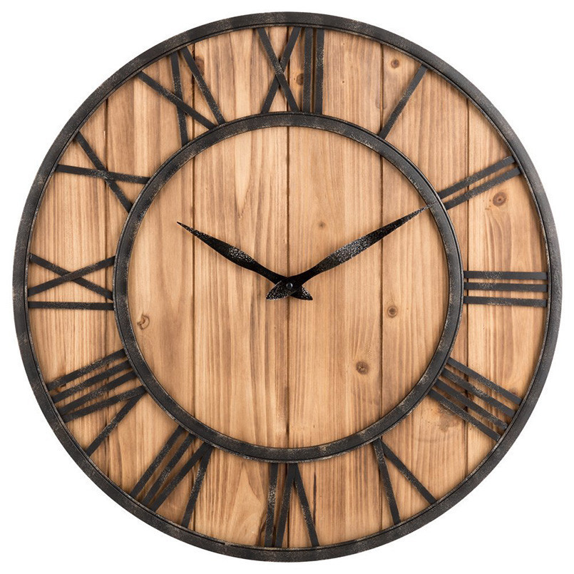 New 3D Retro 40cm Vintage Wall Clock Living Room Wrought Iron Solid Wood Fir Mute Creative Cafe Wall Clock Large Size For Home