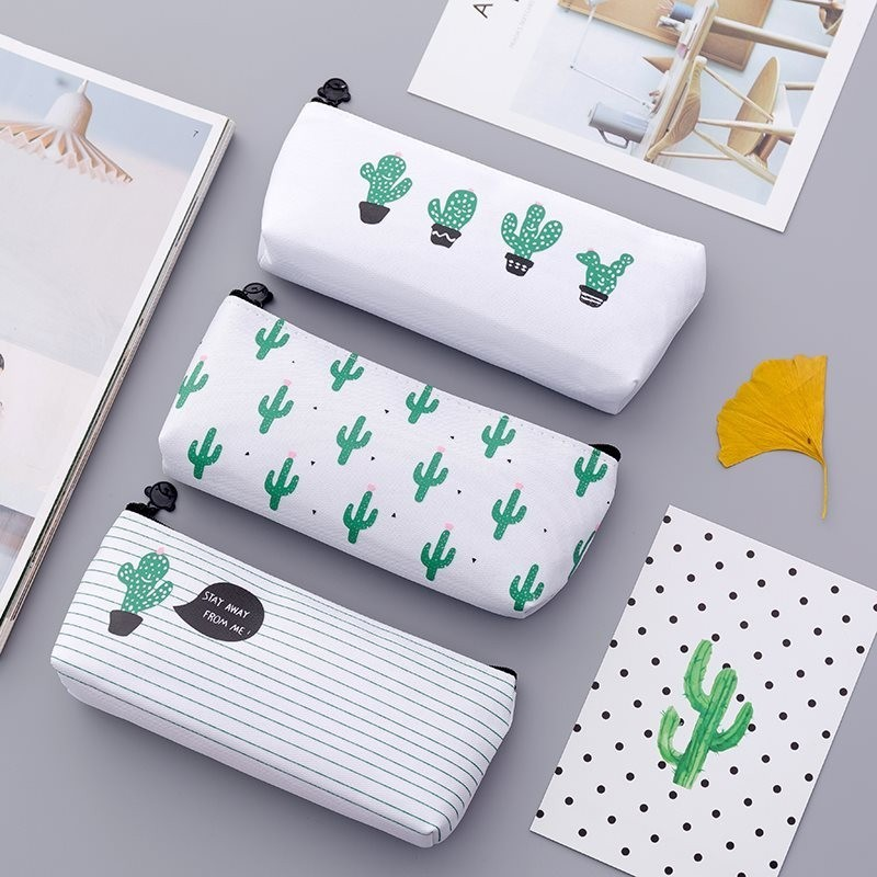 Kawaii Canvas Cactus Pencil Case School Supplies Stationery Estuches Chancery School Cute Pencil Box Pen Bags Pencilcase 04907