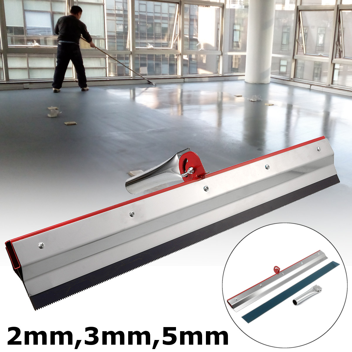 US $21 31 17% OFF 56x12cm Stainless Steel Notched Squeegee Epoxy Cement  Painting Coating Self Leveling Flooring Gear Rake Construction Tools  Part-in