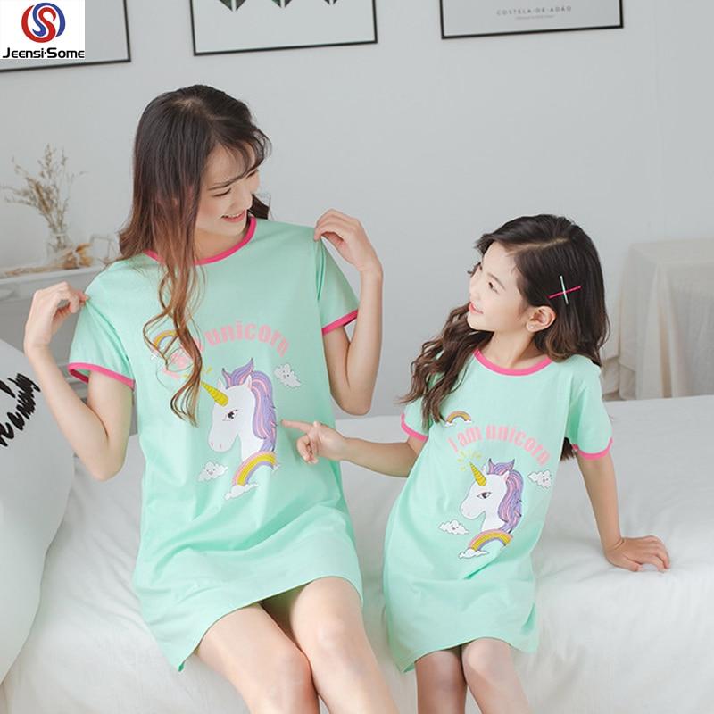 يونيكورن منامة الفتيات ثوب النوم للأطفال بيما يونيكورن الأطفال منامة القطن بيجامة فيل الشقي الصيف طفل الملابس الوردي 6-19Y