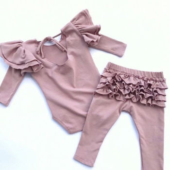 Cute Baby Girl Set - Bodysuit and Trousers with Ruffles