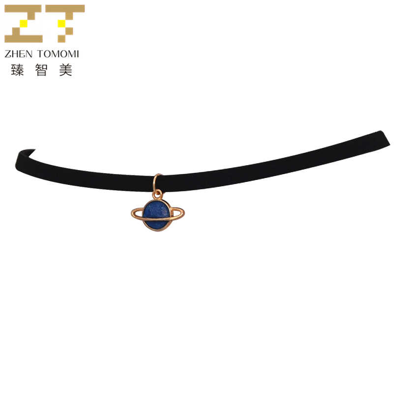 Fashion Maxi Torques Black Velvet Leather Geometric Circle Planet Pendants False Collar Chokers Necklace Women Jewelry 2019 Gift