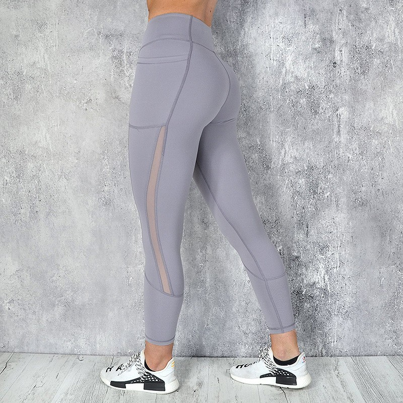Image 5 - Pocket Solid Sport Yoga Pants High Waist Mesh Sport Leggings Fitness Women Yoga Leggings Training Running Pants Sportswear WomenYoga Pants   -